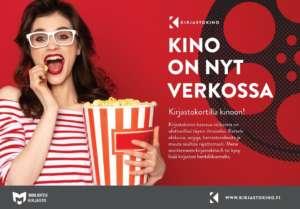 KirjastoKinon mainos. Kuvassa nainen syömässä popcornia.